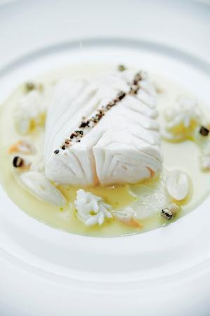 Alain Ducasse at The Dorchester: Simmered halibut, celeriac, shellfish and squid