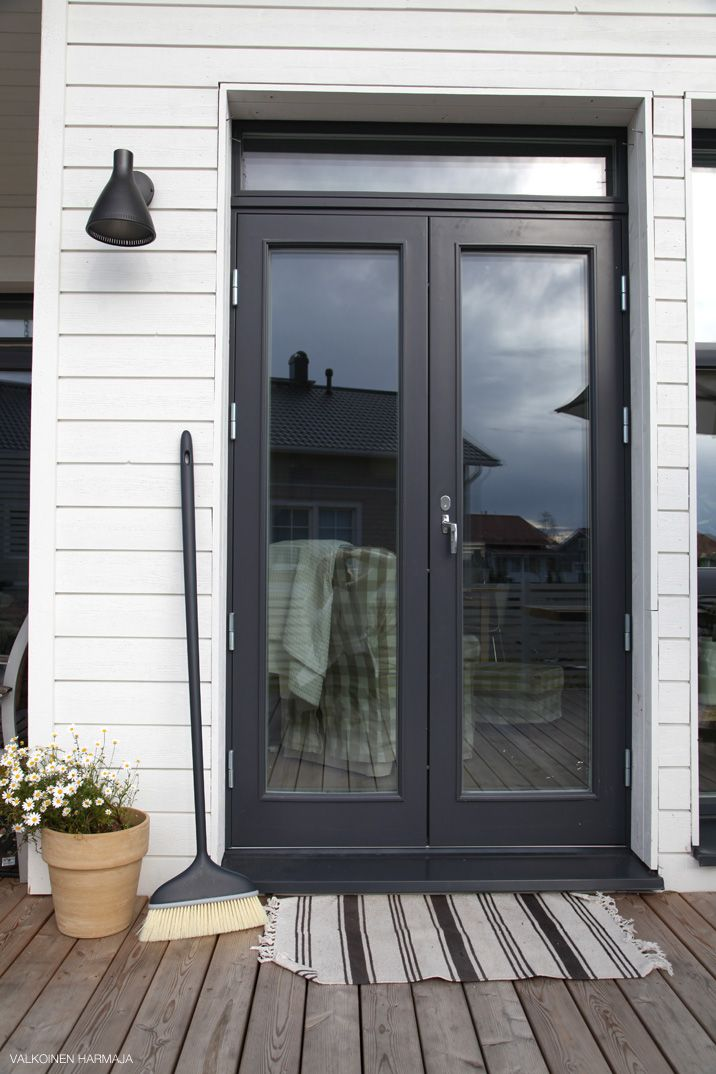 Black/grey French doors