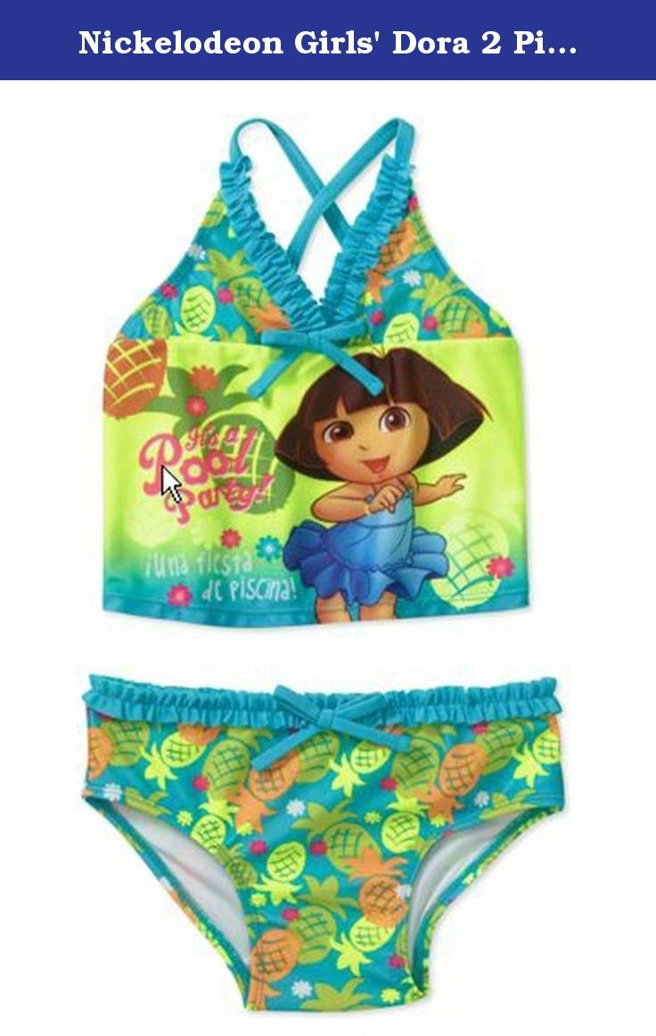 Nickelodeon Girls' Dora 2 Piece Tankini Suit Swimsuit (12M). Your girl will spend some quality time playing with water with this Nickelodeon baby girls' Dora 2 piece tankini suit. It's super cute and fun. The 2 piece halter style is definitely a go-to style for your cute little girl.