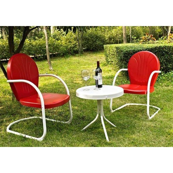 Red 3 Piece Metal Outdoor Patio Furniture Set Griffith In 2020