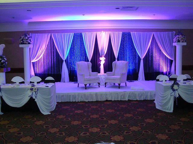 Noretas decor inc calgary wedding decorator stage for Backdrop decoration for church
