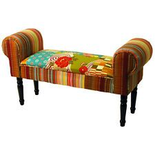 PATCHWORK Chaise Shabby Chic Pouffe Stool with Wood Legs - Multicoloured OCH3536