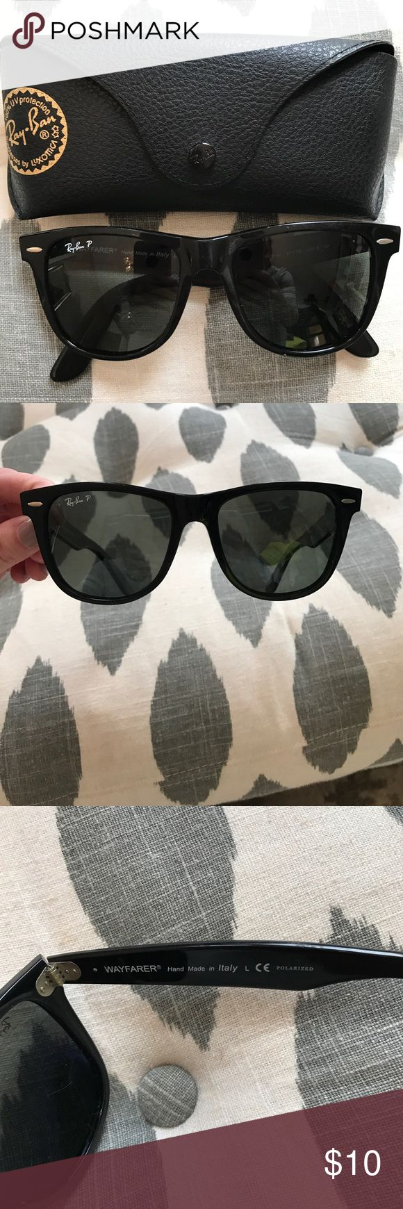 Ray ban original wayfarer sunglasses Black polarized ray ban wayfarer (original size) Disclaimer: one lens is slightly scratched.... still wearable though and does not block vision ray ban Accessories Glasses