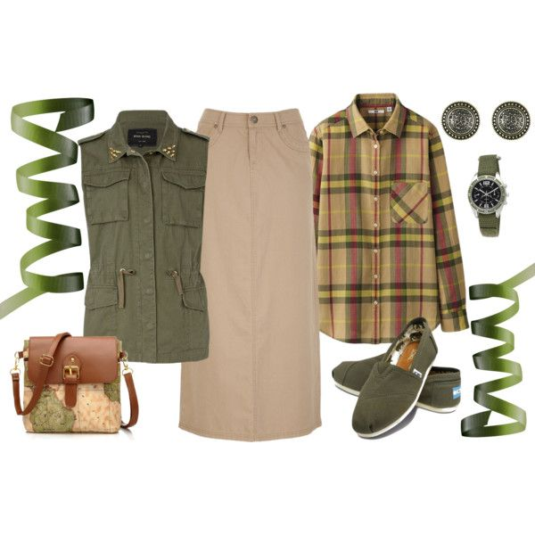 easy, casual, inexpensive khaki skirt outfit
