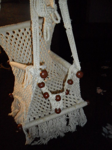 Vintage Retro Macrame Child Hanging Chair Swing For The