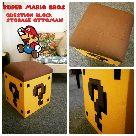 "Let's a go! This custom made Super Mario Bros Upholstered Storage Ottoman will be sure to keep your living room well stocked on power ups with its removable lid and storage compartment inside! Measures at 13"" x 13"", with a super comfortable padded lid. Perfect decor for the Nintendo nerd and geekchic lovers alike!"