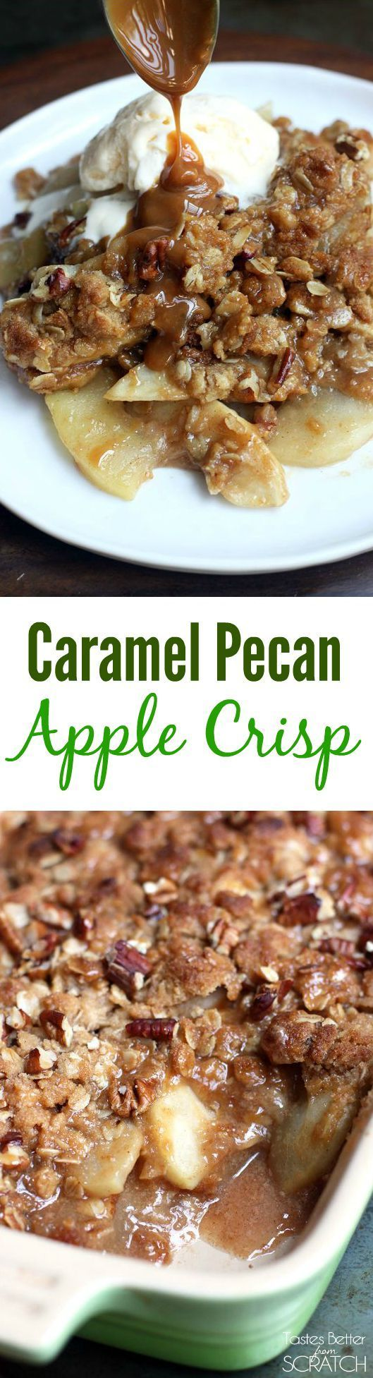 This apple crisp recipe is AMAZING! Tart Granny Smith apples drizzled with caramel and topped with a pecan, oat crumble, baked to perfection!