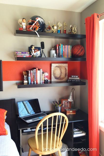 Teen boy bedroom reveal bedroom makeovers shelves and - Bedroom ideas for teenage guys with small rooms ...