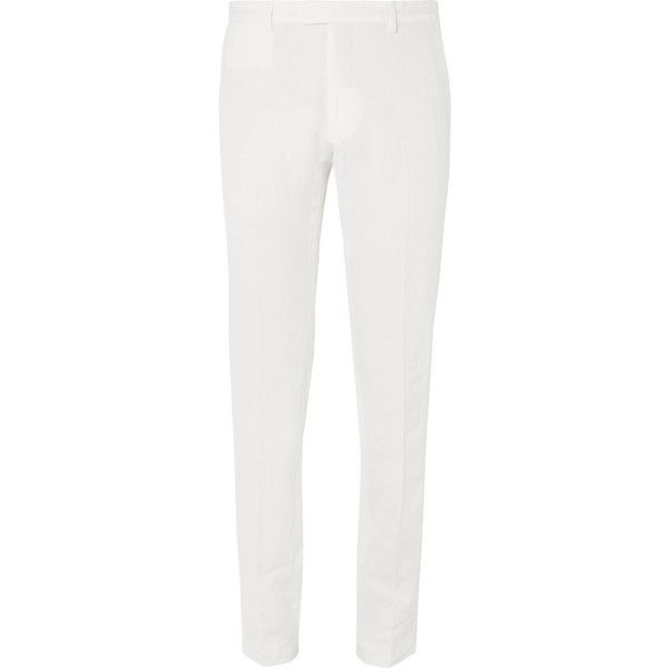 Dries Van Noten Slim-Fit Linen and Cotton-Blend Trousers ($450) ❤ liked on Polyvore featuring men's fashion, men's clothing, men's pants, men's casual pants, mens white linen pants, mens white pants, mens linen pants, mens slim pants and mens slim fit pants