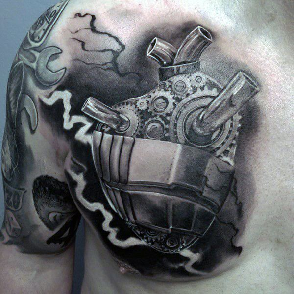 Biomechanical Badass Gear Tattoo For Men On Upper Chest With Black And White Shaded Ink