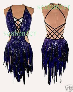 Ballroom Samba Cha Cha Ramba Latin Dance Dress US 10 UK 12 Dark Blue Black | eBay