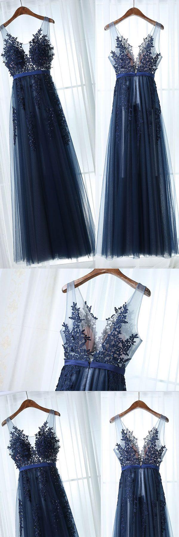dark blue tulle lace long prom dress, dark blue bridesmaid dress