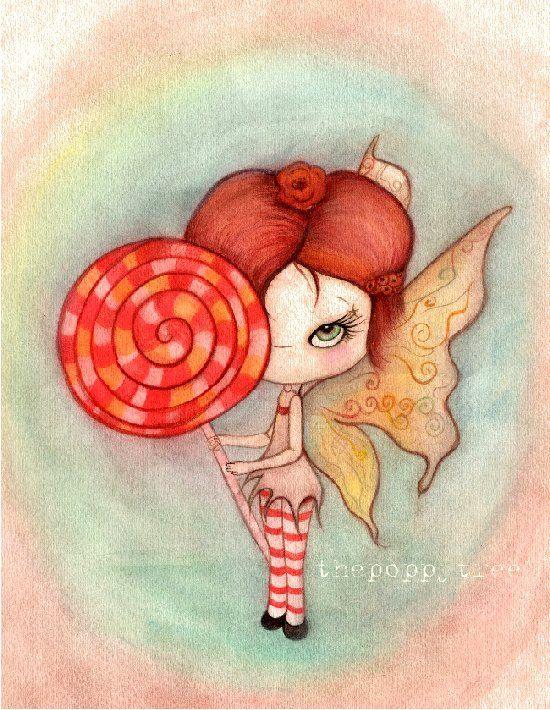 Hadas hadas arte imprimir Lollipop Elf Pixie alas dulces niños vivero pared arte