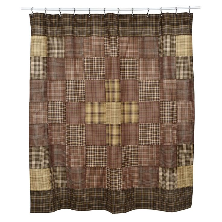 New Primitive Tan Brown Prescott Log Cabin Quilt Block Fabric Shower Curtain #VHC #Country