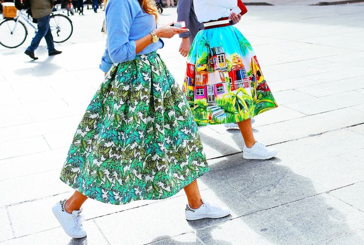 Stella Jean skirts with Adidas Stan Smith shoes & Reebok shoes // @voguemagazine