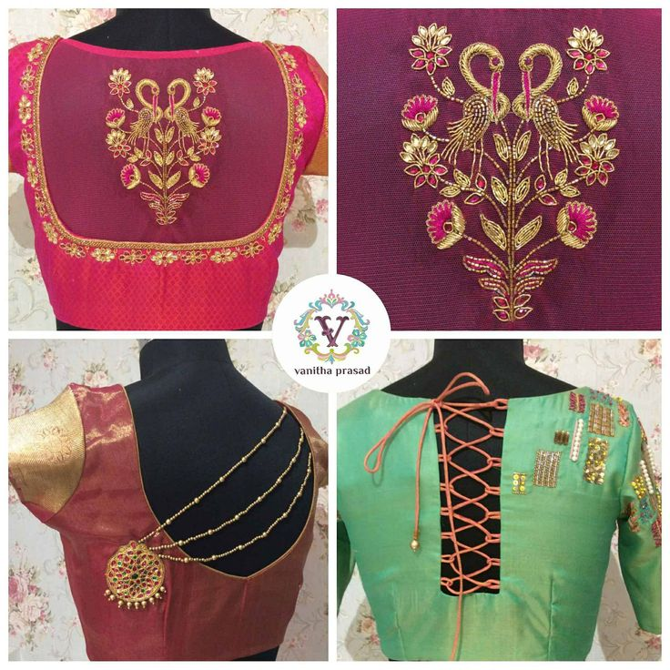 Beaitiful trendy blouse back models from Vanitha couture. 13 May 2017
