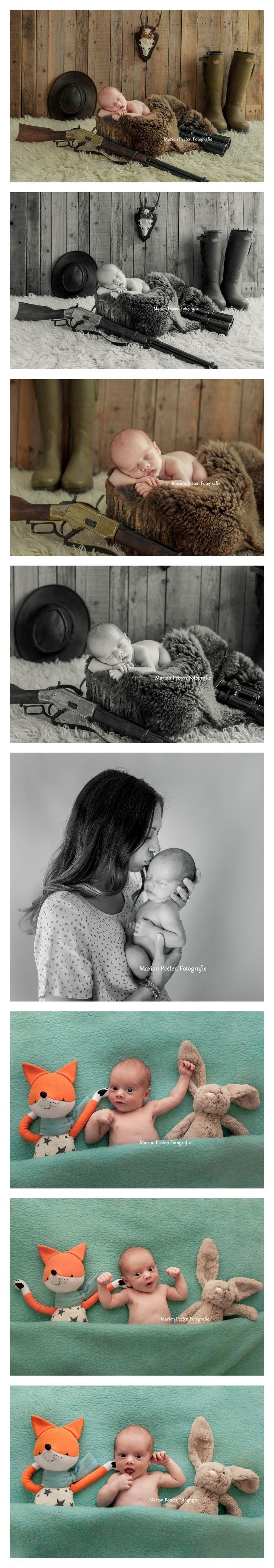 Newborn baby boy#newborn studio photography#marion peeten fotografie#newborn with hunting gear#newborn love# newborn with mom#