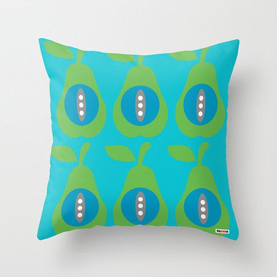 Pears throw pillow cover  Blue and green pillow by thegretest, $55.00
