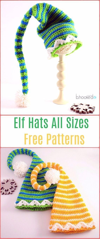 Elf Hüte häkeln alle Größen frei Muster – häkeln Weihnachtsmütze ...