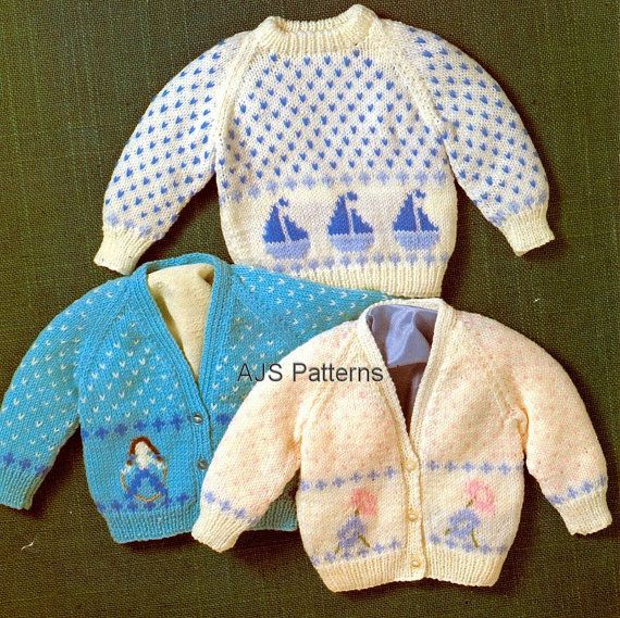 This PDF Knitting Pattern is for this Trio of Cardigans and Jumper with Motifs - a Sailing Boat, A Skipping Child and a Flower Design.   Knitted in DK wool. To fit chest sizes 16-20 (40-50 cm). Handy conversion charts for wool and needle sizes are also included.    Your PDF pattern will be available as an instant download from etsy upon confirmation of your payment.  You will require adobe reader to open this format, which is a free download from Adobe.  B545