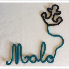 Prénom en tricotin ou mot de 4 lettres au choix    forme au choix en tricotin personnalisable Prénom Malo au tricotin