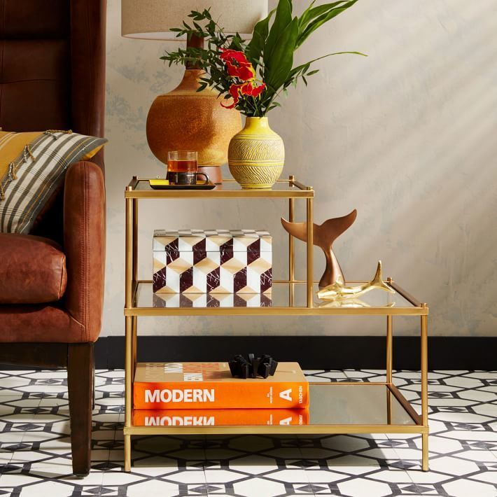 Mid century side table. Mirror and gold edging. Terrace Side Table