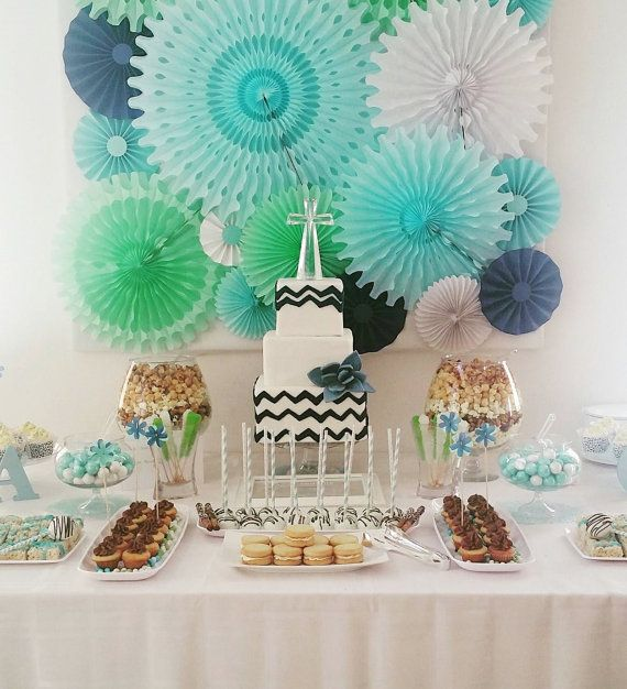 Blue table backdrop paper and tissue fans, light blue, aqua, mint, navy white honeycomb fans, paper rosettes tissue and cardstock