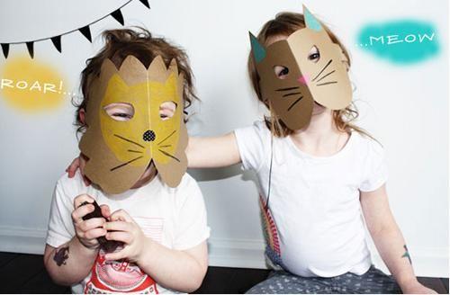 manualidades niños mascaras cartulina leon gato1 Rápidas caretas de animales para niños