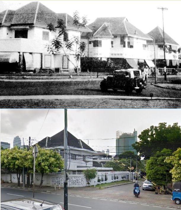 Huisen aan Menteng te Batavia, circa 1930 1940, ,., Rumah di pojok jl HOS Cokroaminoto dan jl Panarukan, Jakarta, 2017