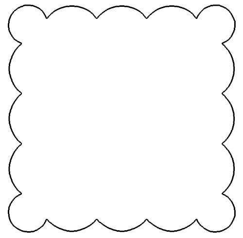 Free Scallop Template | Free Scallop Patterns for Scrapbooking - Scalloped Square