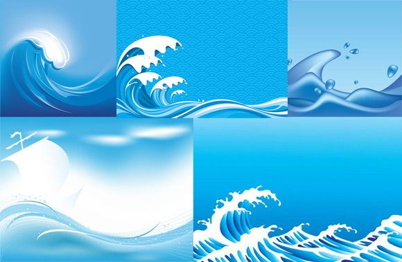 Cartoon ocean waves blue sea wave vector background - Blue ocean design ...