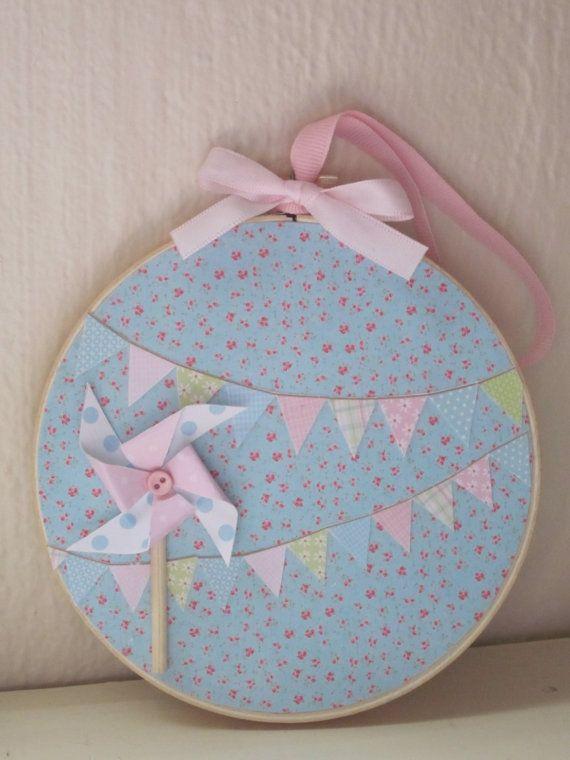 Bunting Embroidery Hoop Art Shabby Chic Decoupage Pastel Pinwheel.