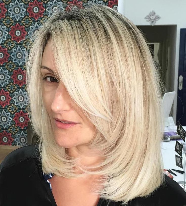 Medium-To-Long Blunt Haircut With Bangs