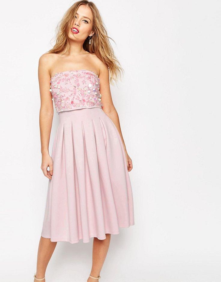 ASOS+SALON+Embellished+Bandeau+Scuba+Midi+Dress