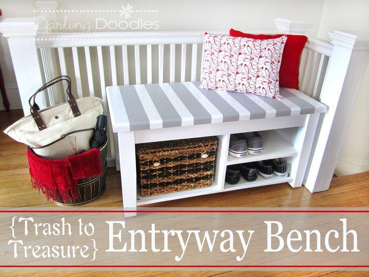 diy entryway | Our DIY Entryway Bench - Darling Doodles | Darling Doodles