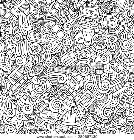 Cartoon Vector Doodles Hand Drawn Cinema Seamless Pattern Doodle ArtAdult ColoringColouringColoring BooksHand