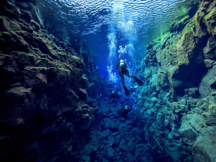 The Silfra fissure, located within Iceland's Thingvellir National Park, is one of the only places in the world where visitors can swim between two continents. Not only is it home to some of the world's clearest waters, but in some instances, the spaces are so narrow that swimmers can actually touch the continental plates of both North America and Europe.