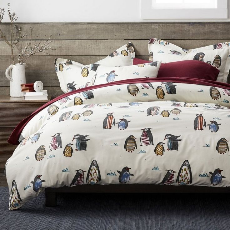 Charming flannel sheets & bedding set featuring a pack of friendly penguins in a whimsical assortment of stripes, squiggles and plaids.
