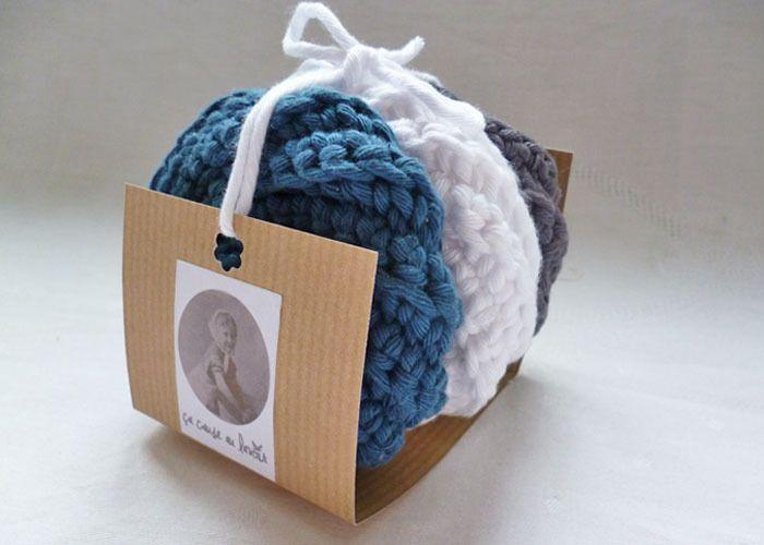 3 éponges durables et éco-responsables en coton - Lot BLEU - Tawashi - Entretien de la maison : Textiles et tapis par ca-cause-au-lavoir