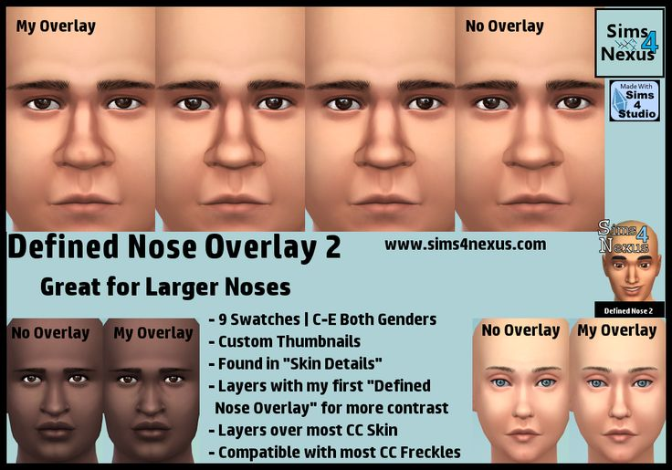 The Sims 4 | Sims 4 Nexus nose overlay 2 facial details