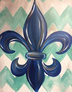 Painted Fleur de Lis and chevron on canvas