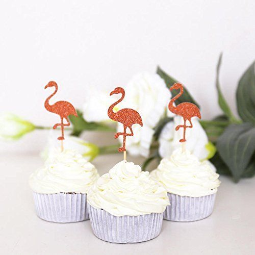 """Flamingo Cupcake Toppers /Summer cupcake topper/Tropical birthday/Tropical Party/Flamingo Party. ❤About Cup Cake Topper❤ These cupcake toppers are made from thick, high-quality card stock. The back is plain with a wooden pick attached. ( if you would like this double sided please contact me for pricing ) ❤Pack❤ You can choose 12pcs/Set or 24pcs/Set if you need other qty, please tell me ❤SIZE❤ The size of the cupcake toppers are approx 2"""" inches without the picks."""