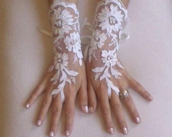 Handschoenen Black bruiloft Frans kant van GlovesByJana op Etsy