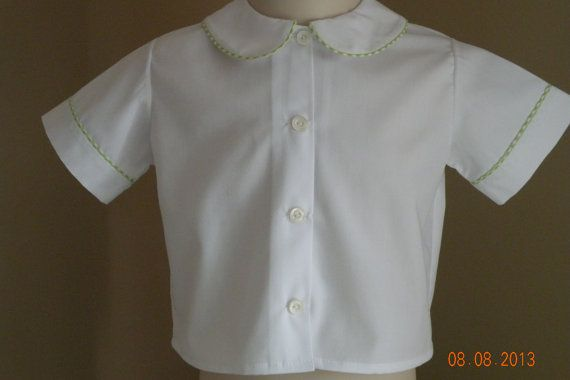 Boys White Short Sleeve Shirt with colored  by TheSmockingGarden, $20.00