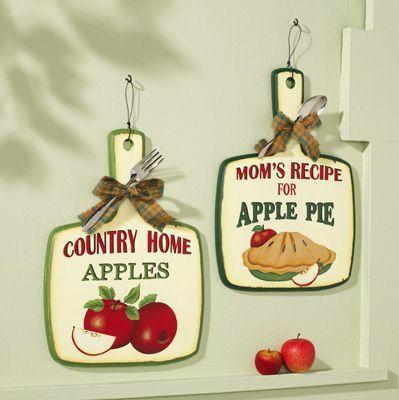 Pie wall decor vintage look apple pie kitchen wall decor for Apple kitchen decoration set