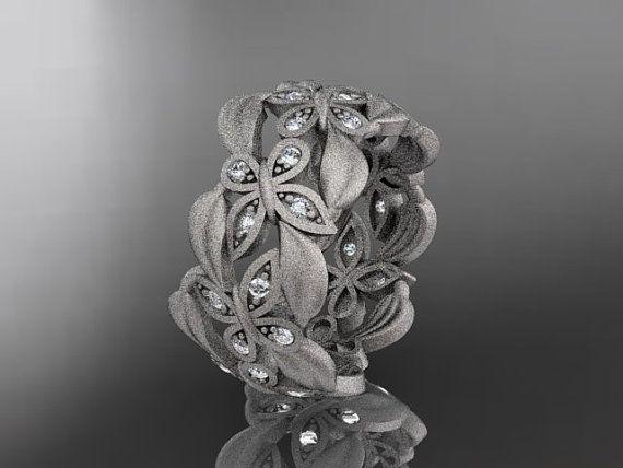 Platinum Diamond Mariposa, Hoja y anillo de bodas de la vid, el compromiso Anillo ADLR262