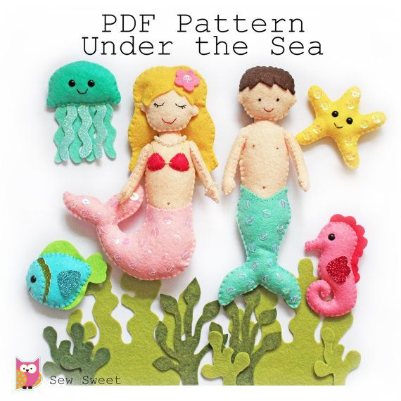 This PDF file is to make a set of 11 Super cute Under the Sea themed felt softies as shown in the main photo.  **IMPORTANT. This item is a digital file, NOT a finished product. Please feel free to contact me with all the questions you may have before you make a purchase if you're unsure.  Due to the digital nature of this item, all sales are final. Thanks!  Size Guide; Mermaid - approx 15cm x 11cm at the widest point Merman - approx 17cm x 6cm Seahorse – 7.5cm height x 4.5cm wide Fish 5cm…