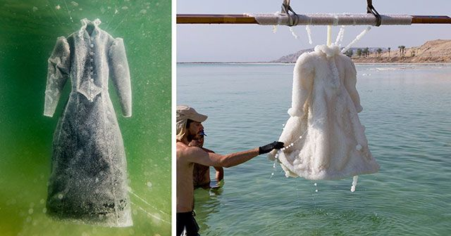 Artist Leaves A Dress In The Dead Sea For 2 Years And It Transforms Into Salt Crystal Gown