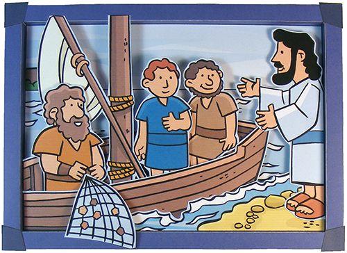 Marcus 1: Roeping van de discipelen. Johannes 21 / Handelingen 1: Jezus verschijnt bij Meer van Galilea. Een 3D bijbelplaat.