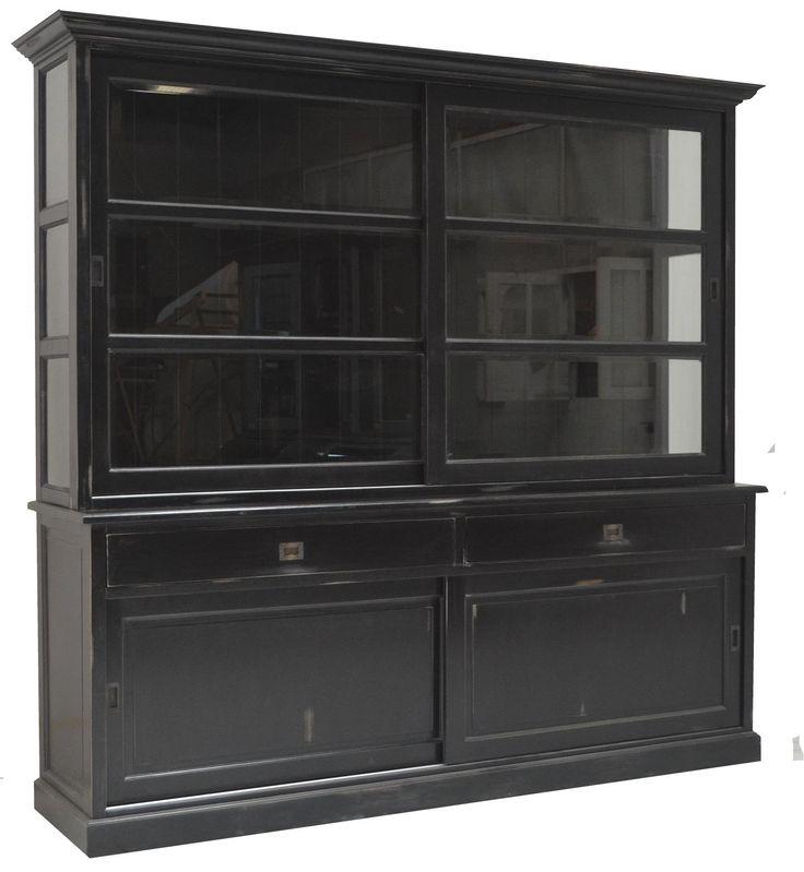 Buffetkastantiek zwart doorgeschuurd Heino 235cm. Authentiek zwarte buffetkast doorgeschuurd met landelijke look, facetglas, brede laden en schuifdeuren
